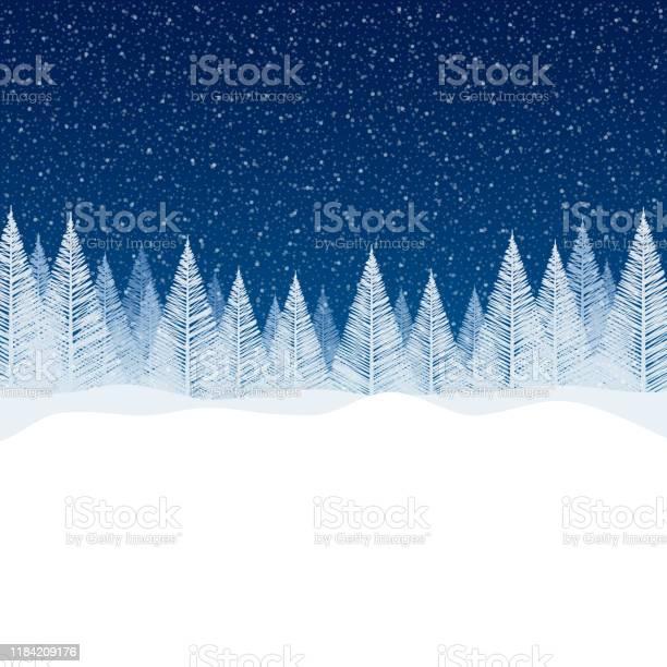 Nevicata Tranquilla Scena Natalizia Con Spazio Vuoto Per Il Tuo Messaggio - Immagini vettoriali stock e altre immagini di Abete