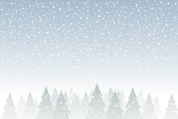 Snowfall - Tranquil Christmas scene with falling snow and fir trees vector art illustration