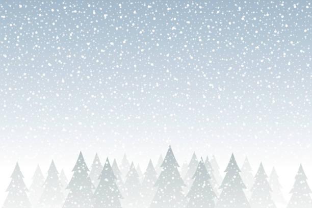 ilustrações de stock, clip art, desenhos animados e ícones de snowfall - tranquil christmas scene with falling snow and fir trees - background christmas snow