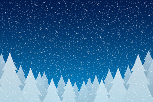 Snowfall - Tranquil Christmas scene with falling snow and fir trees