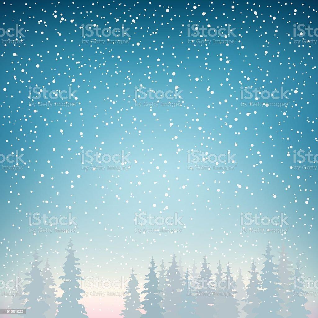 Snowfall,Snowfall in the Forest vector art illustration