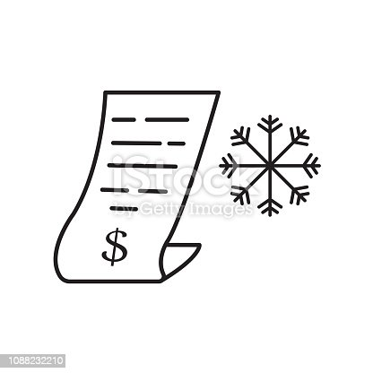 snowflake and invoice icon. winter vector design graphic illustration.