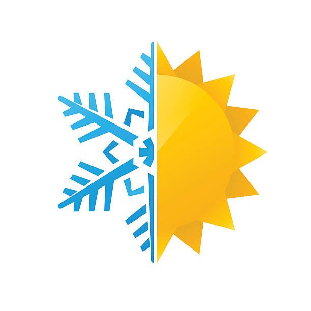 snowflake and sun icon vector art illustration
