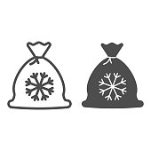 Snowflake bag line and solid icon. Gift outline style pictogram on white background. Christmas sack with presents and snowflake image for mobile concept and web design. Vector graphics