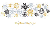 Snowflake Banner for Winter Holidays. Merry Christmas and Happy New Year! Vector illustration.