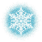 Snowflake - Blue glitter vector Christmas Ornament on white background