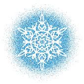 Snowflake - Blue glitter vector Christmas Ornament on white background