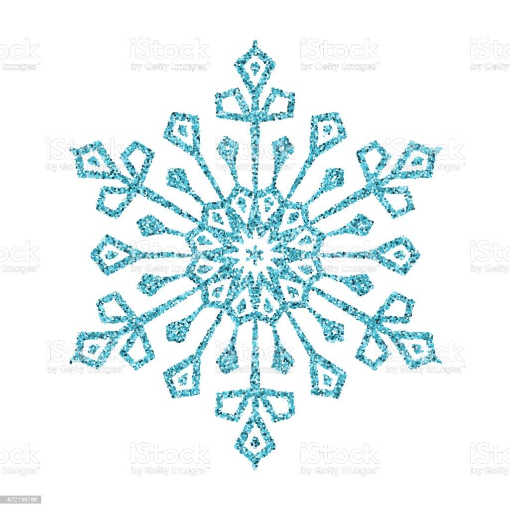 Schneeflocke Blau Glitzer Vektor Christbaumschmuck Auf Weissem