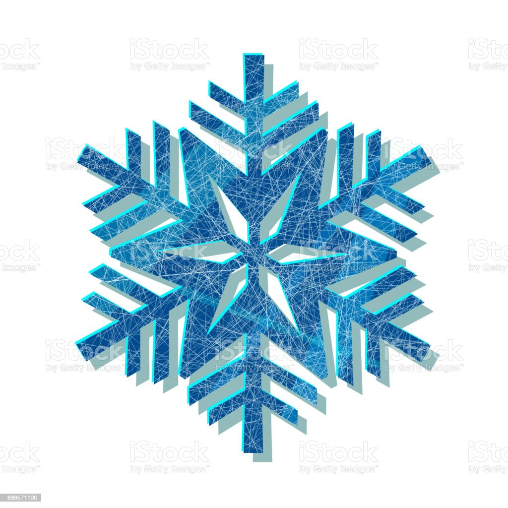 Snowflake blue logo with texture scratched with ice skates on white background vector art illustration
