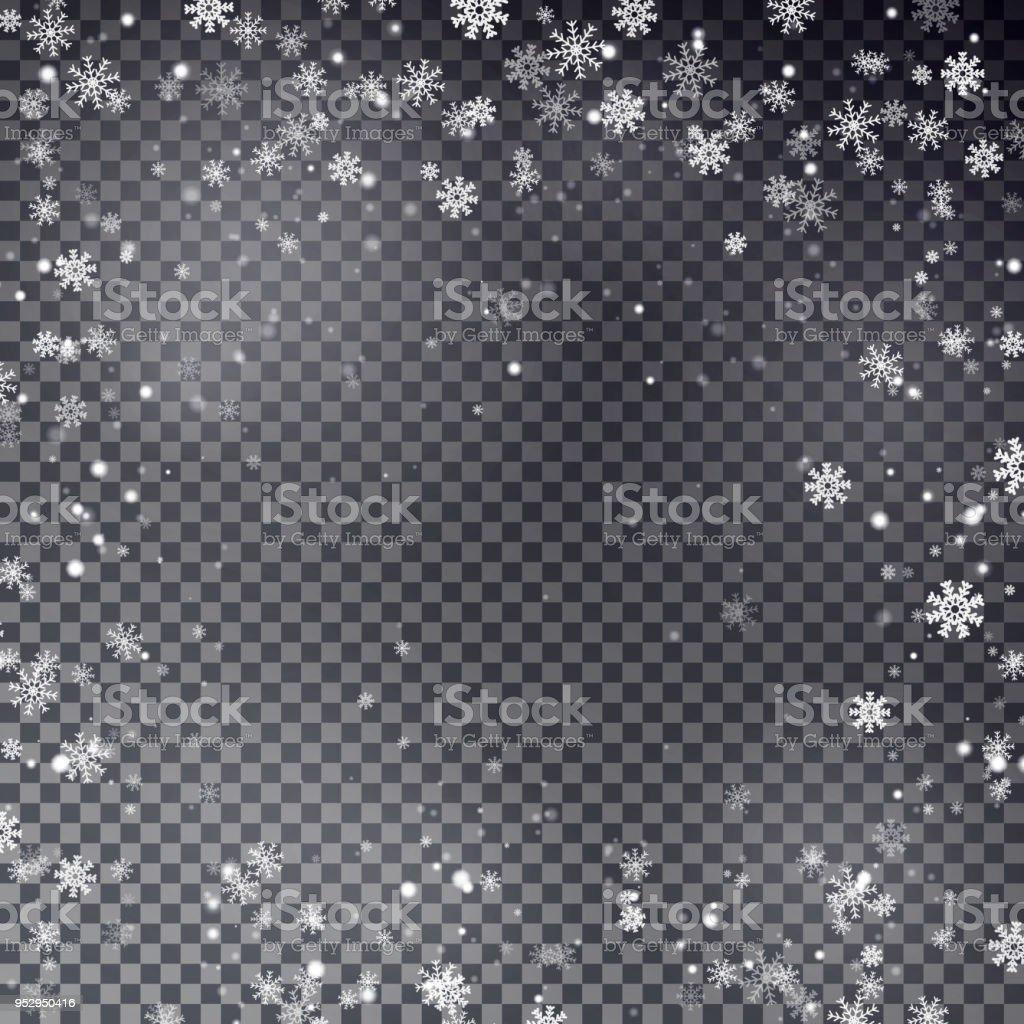 Schneeflockegrenzevektor Weihnachten Fallenden Schnee Rahmen Stock ...