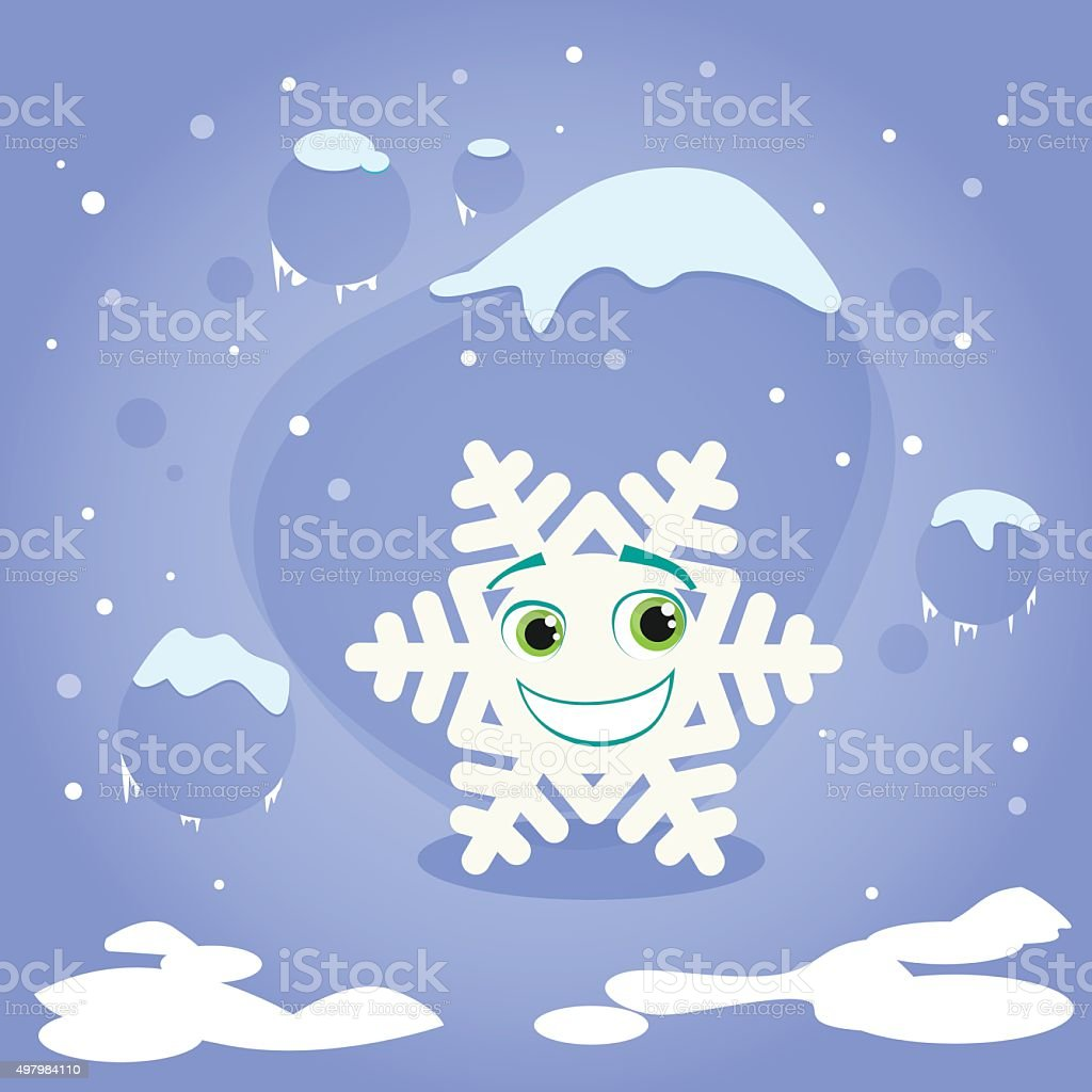 snowflake cartoon character christmas concept blue stock vector