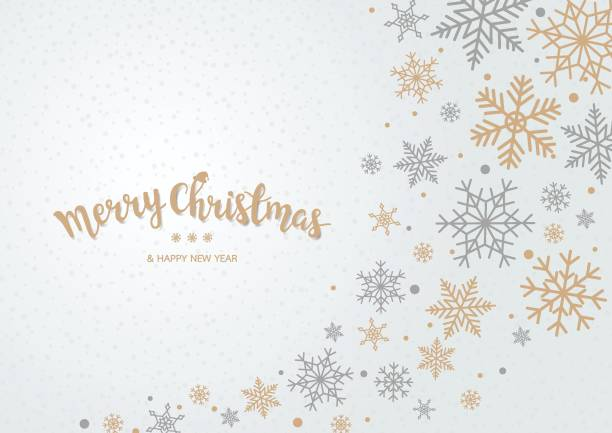 Snowflake Christmas background Winter blue sky with falling snow. Snowflake background for Merry Christmas and Happy New Year. Vector illustration holiday background stock illustrations