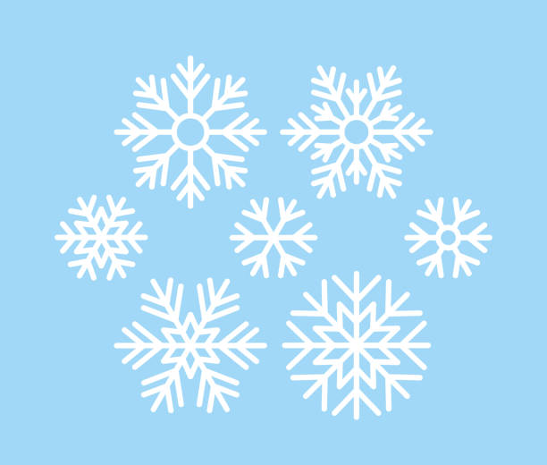 Snowflake. Christmas icon. Vector illustration in flat design. Snowflake. Vector. Christmas icon. Freeze snow. Set holiday symbols isolated on blue background in flat design. Cartoon color illustration. clip art stock illustrations