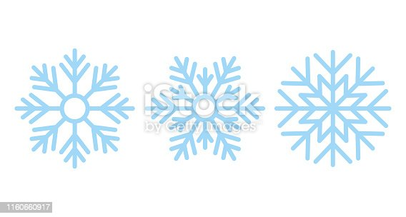 Snowflake. Vector. Christmas icon. Freeze snow. Holiday symbols isolated on white background in flat design. Cartoon color illustration.