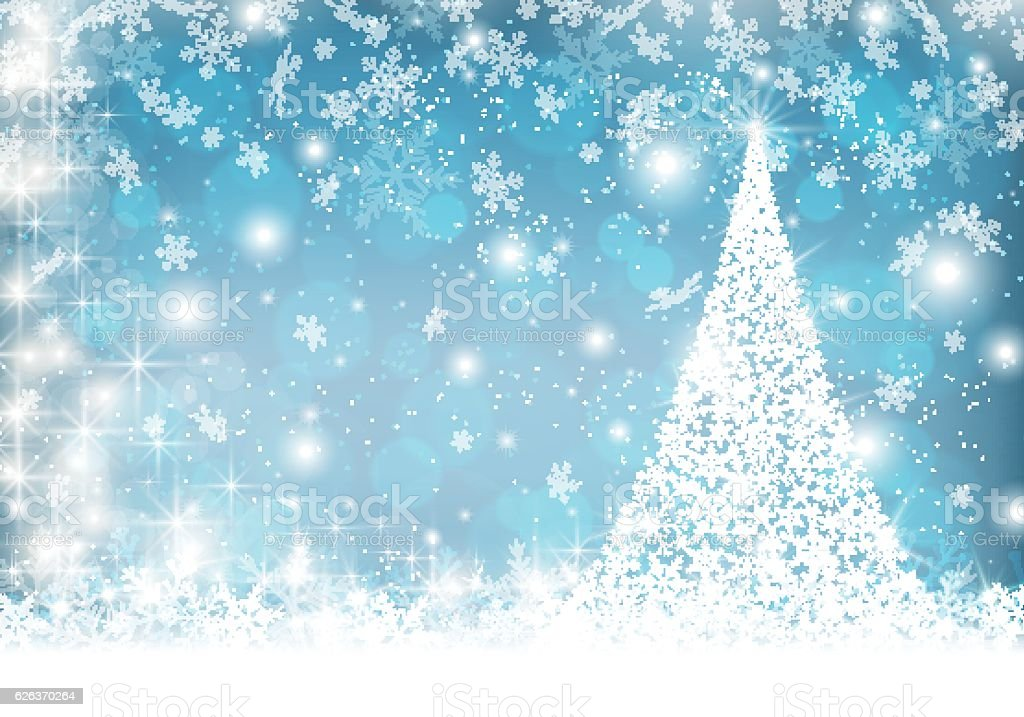 Elegant Christmas Background With Snowflakes Stock Vector: Snowflake Christmas Tree On Winter Background Stock Vector