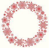 Snowflake Christmas wreath in red silhouette.