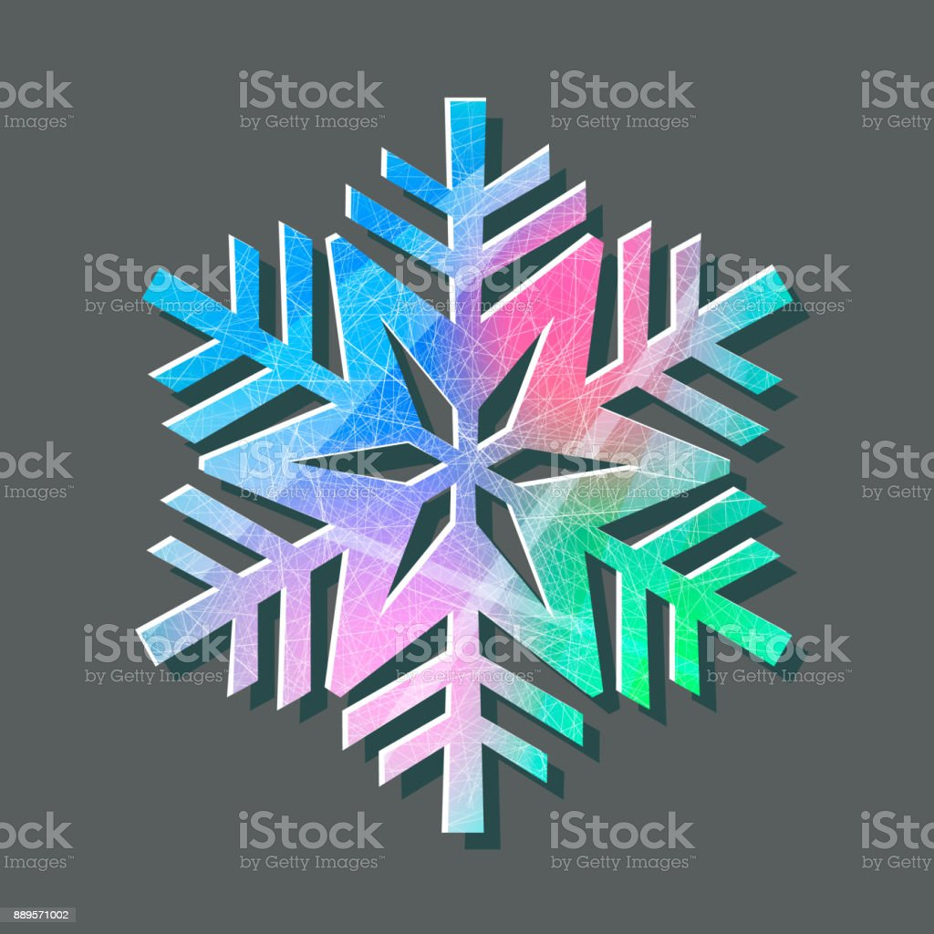 Snowflake color logo with texture scratched with ice skates on gray background vector art illustration