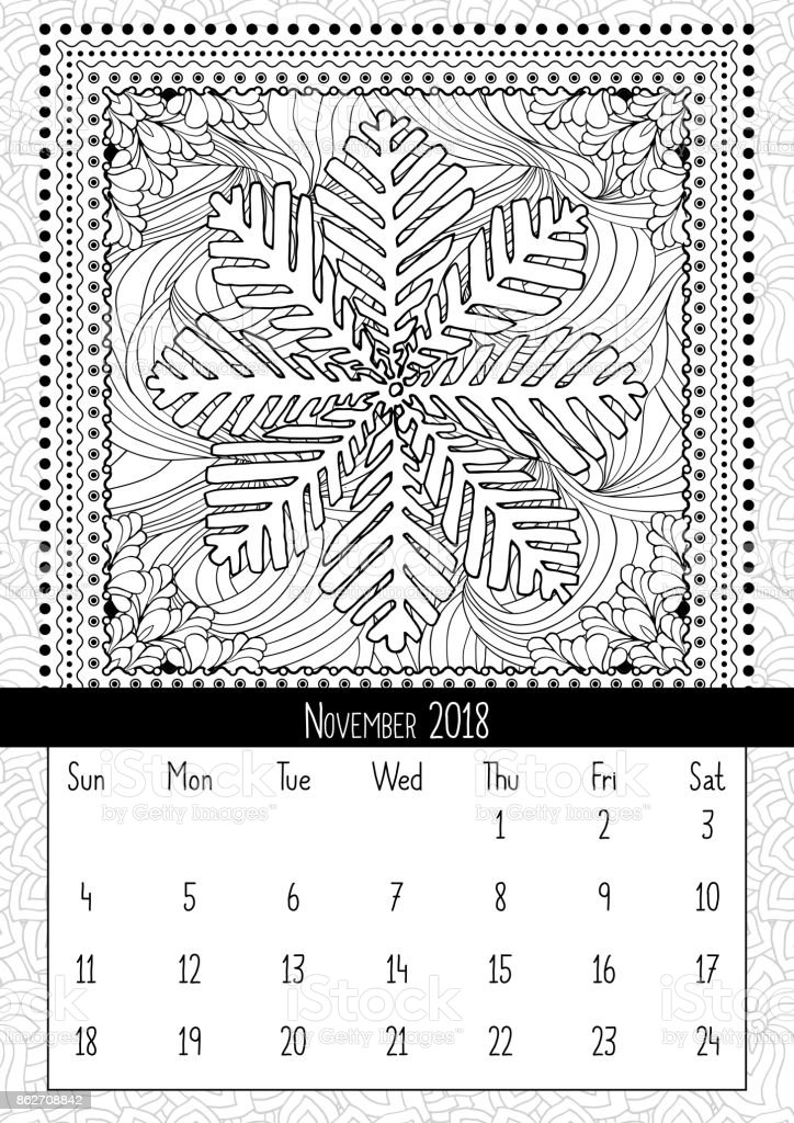 雪の結晶の塗り絵の本ページ2018 年 11 月のカレンダー 2018年の