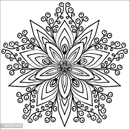 floco de neve, colorindo em uma mandala