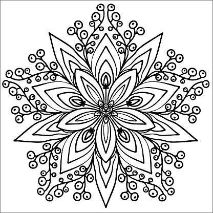 snowflake, coloring in a mandala