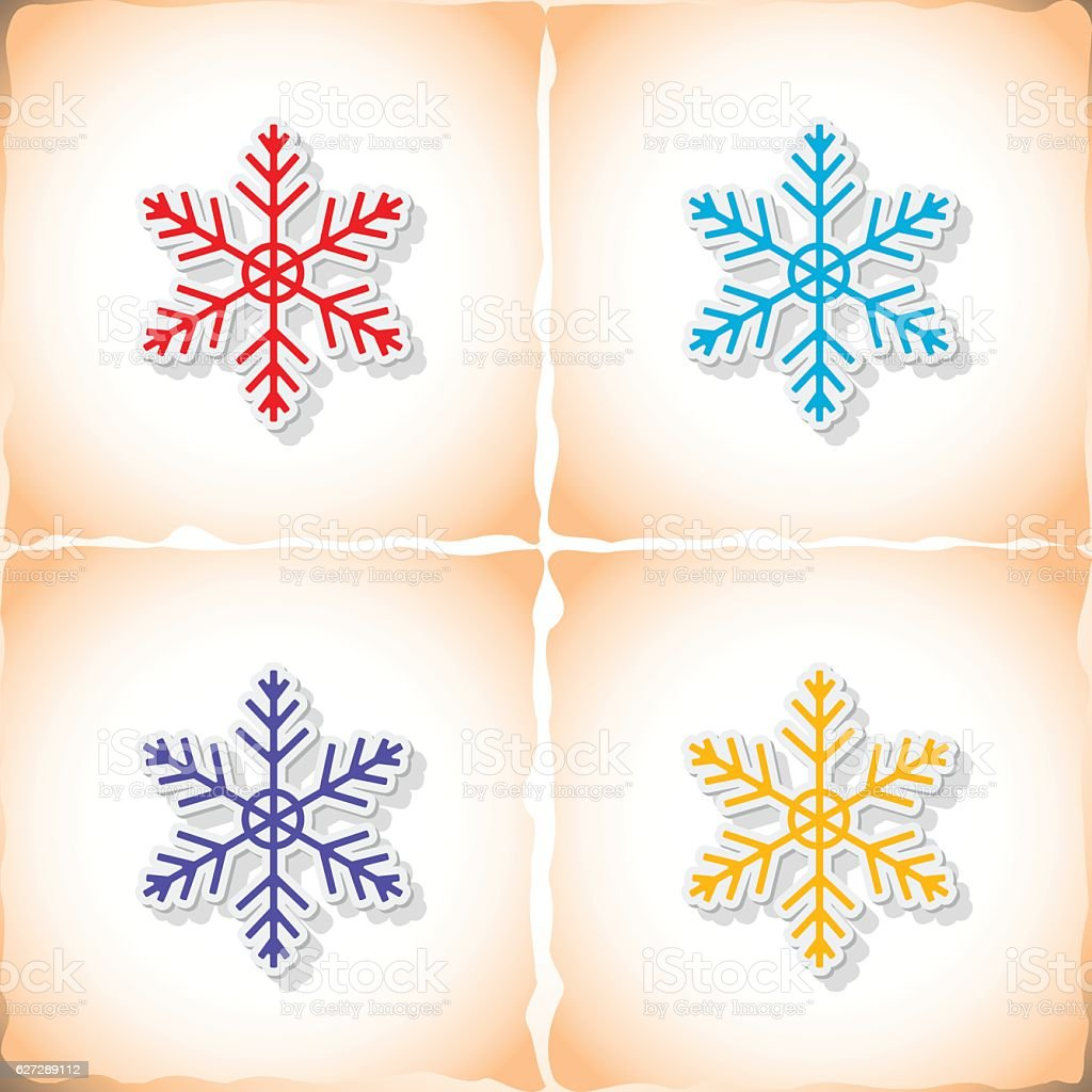 Snowflake. Flat sticker with shadow on old paper vector art illustration