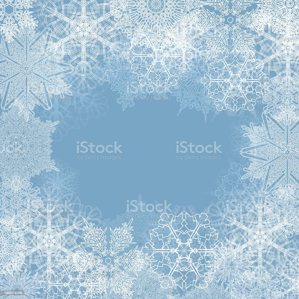 Snowflake frame background vector art illustration