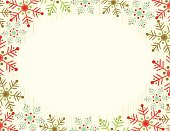 Snowflake Frame background.All elements are individual objects arranged on clearly labeled layers, global colors used. Hi res jpeg included. Click on my portfolio to see more of my illustrations.
