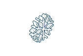 Snowflake, Frost, winter snow isometric icon. 3d vector illustration. Isolated line art technical drawing. Editable stroke