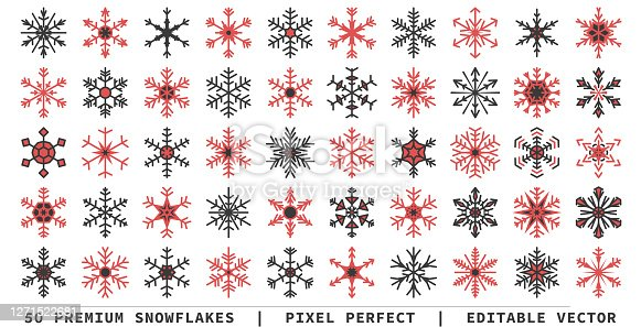 Vector snowflakes - 50 icons - pixel perfect. Can be changed to any color and scalable to any size.