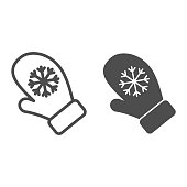 istock Snowflake gloves line and solid icon. Winter knitted mitten outline style pictogram on white background. Christmas seasonal fashion hand cloth for mobile concept and web design. Vector graphics. 1218745427