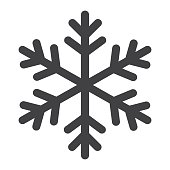 Snowflake glyph icon, New year and Christmas, snow sign vector graphics, a solid pattern on a white background, eps 10.