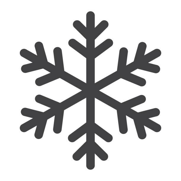 schneeflocke-symbol-symbol, neujahr und weihnachten, vektorgrafiken schnee schild, einem festen muster auf weißem hintergrund, eps 10. - gefroren stock-grafiken, -clipart, -cartoons und -symbole