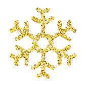Snowflake - Gold glitter vector icon