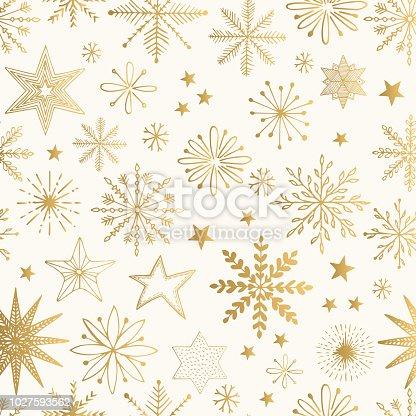 istock Snowflake gold pattern. Glitter vector illustration. 1027593562