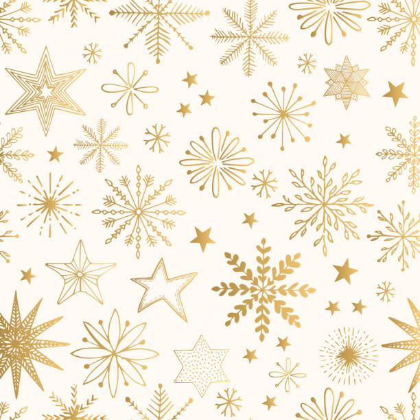 snowflake gold pattern. glitter vector illustration. - papier do pakowania stock illustrations