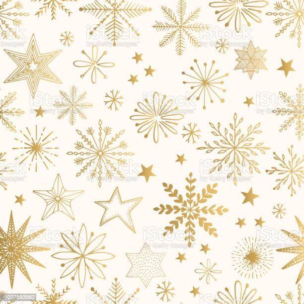 Schneeflocke Gold Muster Glitzervektorillustration Stock Vektor Art und mehr Bilder von Biegung