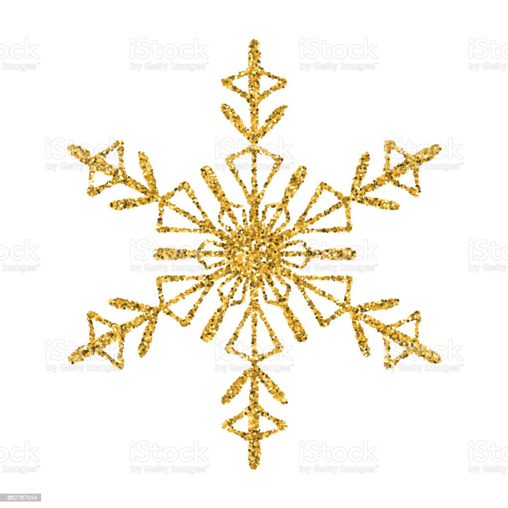 snowflake gold vector glitter christmas ornament on white