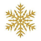 Snowflake - Gold vector glitter Christmas Ornament on white background