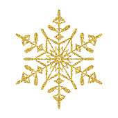 Snowflake - Gold vector glitter Christmas Ornament on white background