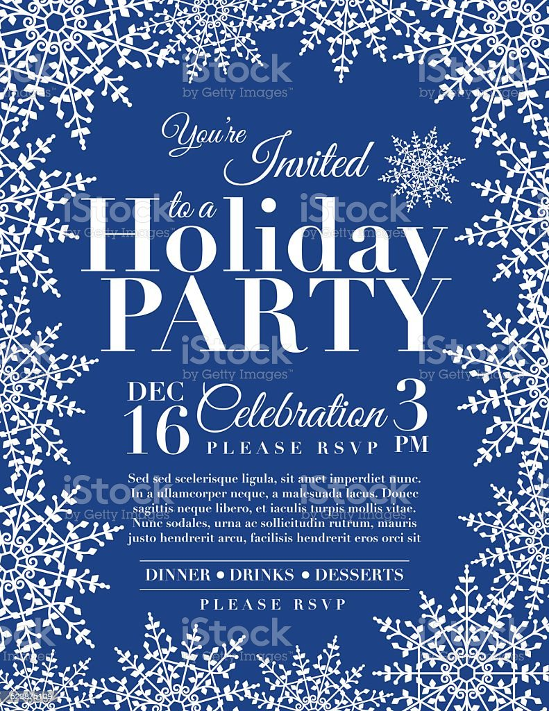 snowflake holiday party invitation template blue stock