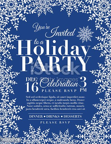 Snowflake Holiday Party Invitation Template Blue Stock Vector Art - Snowflake party invitation template
