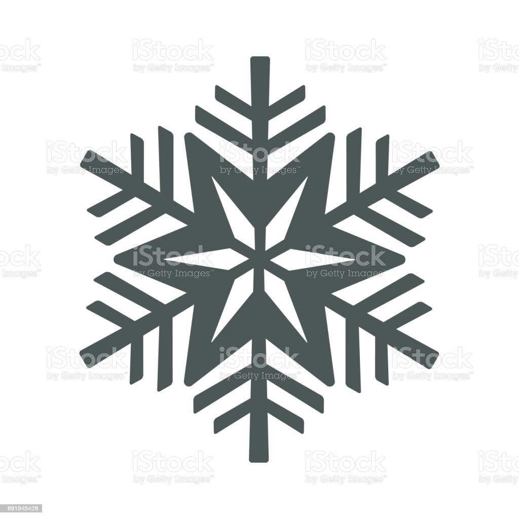 Snowflake icon. Christmas and winter theme. Simple flat black illustration on white background. vector art illustration