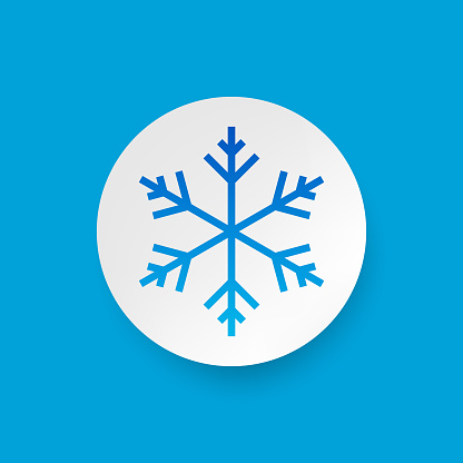 Snowflake icon design on circle and background