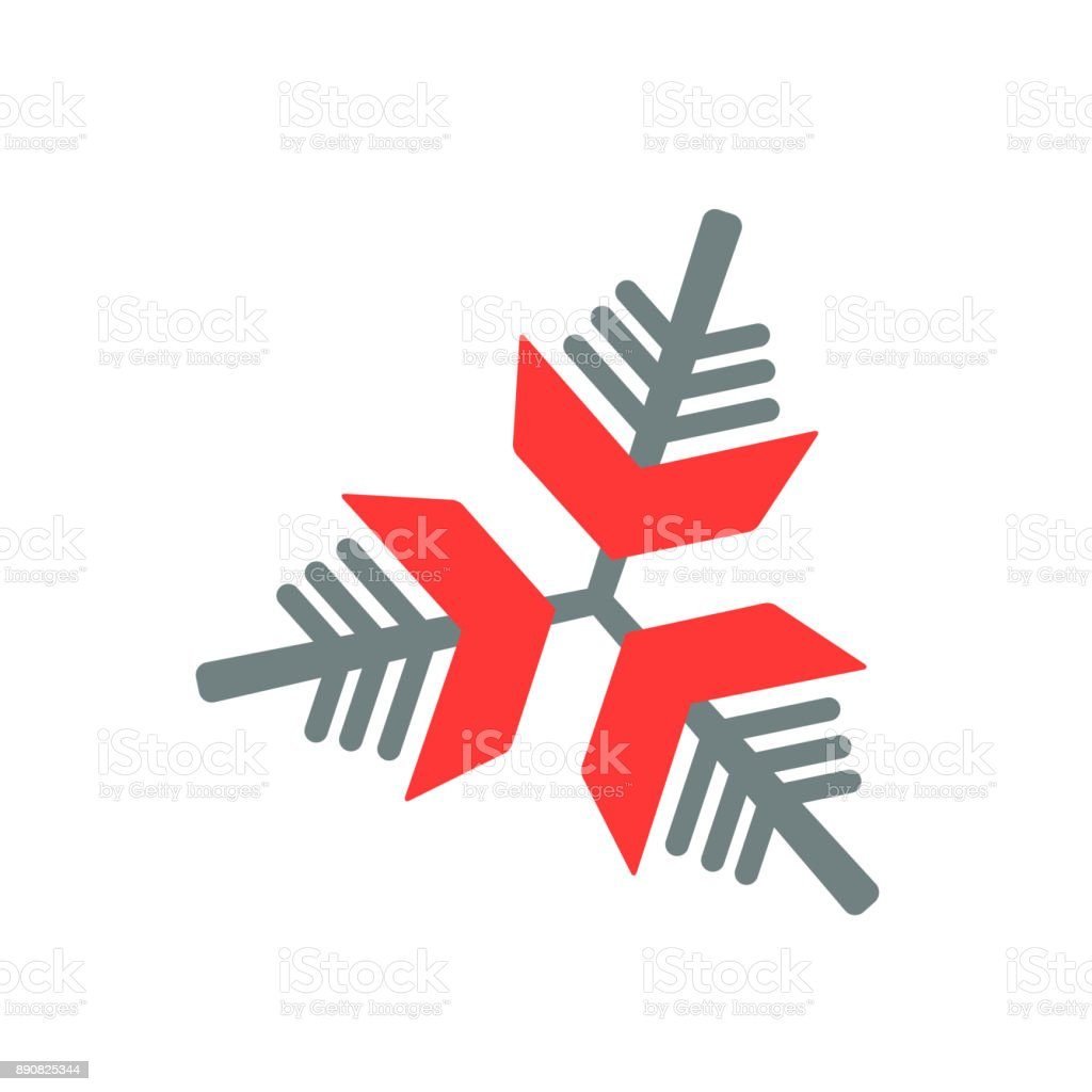 Snowflake icon. Gray and red vector illustration on white background. vector art illustration