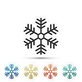 Snowflake icon isolated on white background. Set elements in colored icons. Set elements in colored icons. Flat design. Vector Illustration