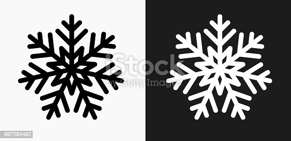 istock Snowflake Icon on Black and White Vector Backgrounds 697284462
