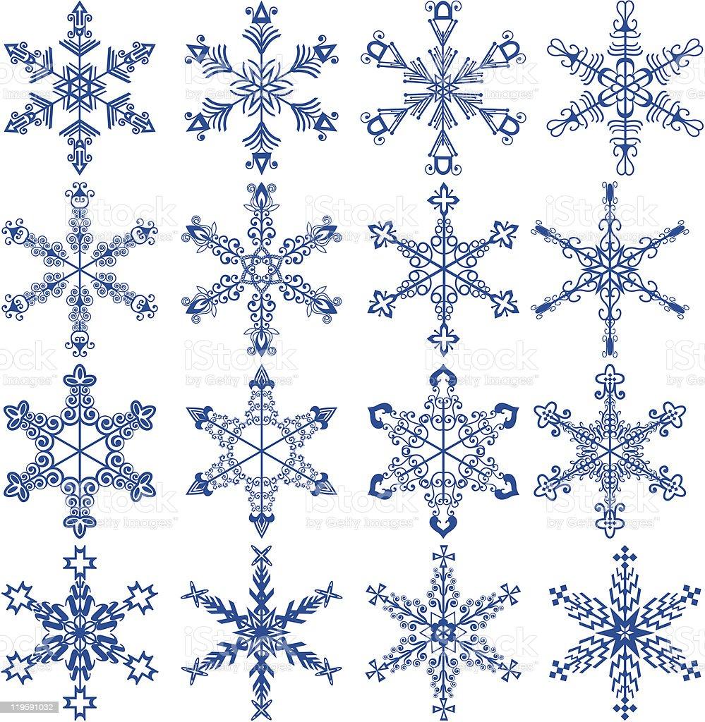snowflake icon set royalty-free stock vector art