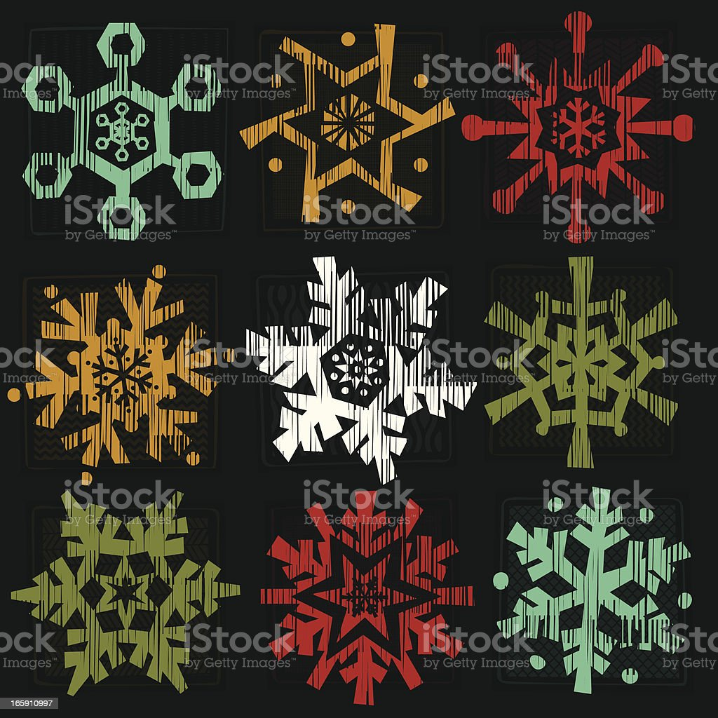 Snowflake Icon set royalty-free stock vector art