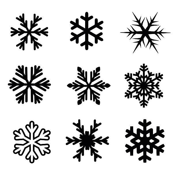 bildbanksillustrationer, clip art samt tecknat material och ikoner med snowflake icon set vector - kristall
