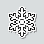 "Icon of ""Snowflake"" on a sticker with a drop shadow isolated on a blank background. Trendy illustration in a flat design style. Vector Illustration (EPS10, well layered and grouped). Easy to edit, manipulate, resize or colorize. Vector and Jpeg file of different sizes."